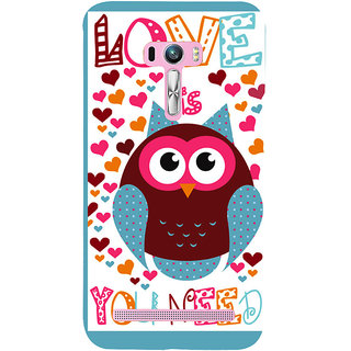 Snapdilla Funky Love Is Owl You Need Quote Heart Shaped Pattern Mobile Pouch For Asus Zenfone Selfie ZD551KL