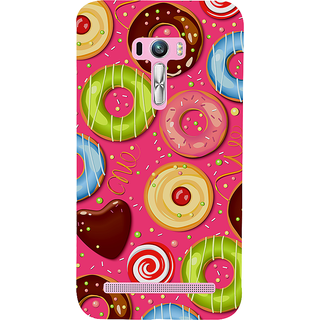 Snapdilla Pink Background Colorful Donut Pattern Chocolate Cartoon Smartphone Case For Asus Zenfone Selfie ZD551KL