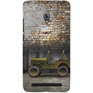 Snapdilla Brick Background Vintage Commando Classic Green Military Jeep 3D Print Cover For Asus Zenfone 5