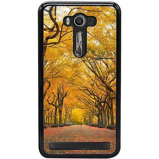 Fuson Designer Back Cover For Asus Zenfone 2 Laser ZE550KL (5.5 Inches) (Sunshine Full Bloomed Trees Orange Trees Spring Autumn)
