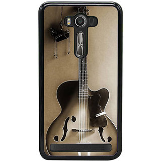 Fuson Designer Back Cover For Asus Zenfone 2 Laser ZE550KL (5.5 Inches) (Guitar Electrical Guitar Black Guitar Guitar With Strings Black Electrical Guitar)