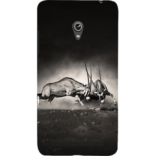 Snapdilla Artistic Vintage Wild Bull Fight Lovers Black  White Cell Cover For Asus Zenfone 5