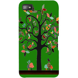 Snapdilla Green Color Background Artistic Clipart Good Looking Tree With Birds Cell Cover For BlackBerry Z10