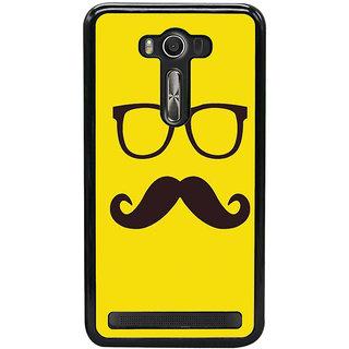 Fuson Designer Back Cover For Asus Zenfone 2 Laser ZE500KL (5 Inches) (Spects Moustache Black Spects Black Moustache Yellow)
