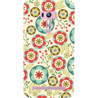 Snapdilla Cute Multi Colour Artistic Flower Stencil Pretty Stylish Floral Designer Case For Asus Zenfone Selfie ZD551KL