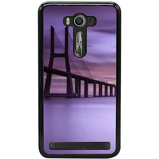 Fuson Designer Back Cover For Asus Zenfone 2 Laser ZE550KL (5.5 Inches) (Bridge River Bridge Evening View Of Bridge Sea Bridge Sunset)
