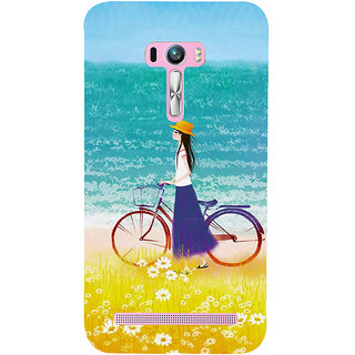 Snapdilla Happy Teen Beach Side Bicycle Ride Pretty Cartoon Girl Walk Cell Cover For Asus Zenfone Selfie ZD551KL