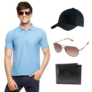 Delhi Seven Classy Blue T-Shirt With Cap, Wallet & Sunglasses