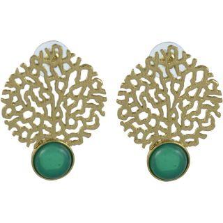 The Jewelbox Gold Jaali Emerald Green Earring
