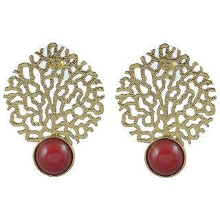 The Jewelbox Gold Jaali Red Ruby Earring
