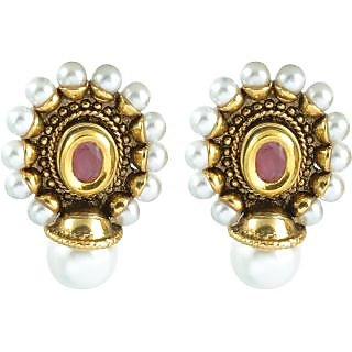 The Jewelbox Antique Pearl Ruby Earring