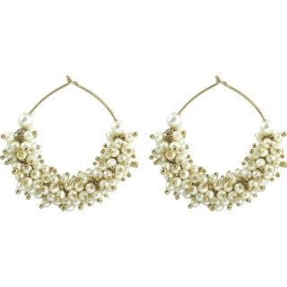The Jewelbox Gold Plated Pearl Cluster Bali Earring