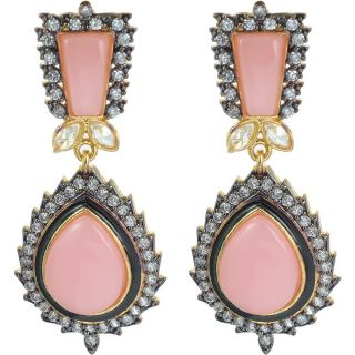 The Jewelbox Pink Stone American Diamond Earring