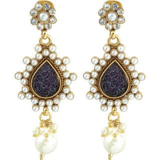 The Jewelbox Pearl And Black Stone Earring