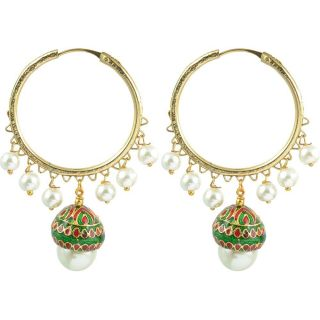 The Jewelbox Pearl Enamel Bai Earring