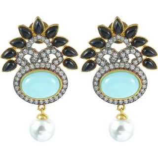 The Jewelbox Black Turquouse American Diamond Earring