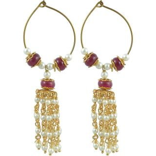The Jewelbox Pearl Ruby Hanging Earring