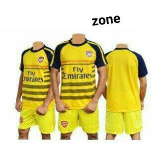 New yellow arsenal football club jersery whit shorts