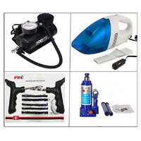 Combo pack of Car Vacuum Cleaner and Electric Air Pump and Bottle Jack And Puncture Kit