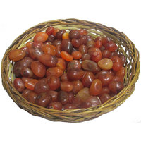 Carnelian Pebbles Tumbles In Cane Basket - A Power Stone Reiki  Healing. Vastu