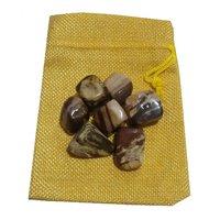 Petrified Wood Pebbles Tumble Jute Bag - Stone Of Earth - Fengshui, Reiki
