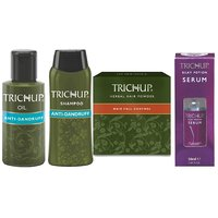Trichup Dandruff And Frizzy Control Kit (Anti- Dandruff Oil (100ml X 2), Anti-Dandruff Shampoo (200ml), Hair Serum (50ml