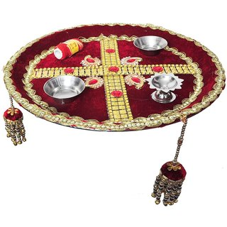 Shadi Bazaar Decorative Pooja Thali-SBPTH007