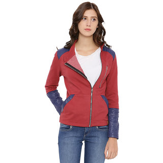 Campus Sutra Womens Maroon Jacket
