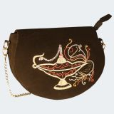 Leathergram - Handcrafted Sling Leather Hand Bag In Zari Embroidery Emblished With Swarovski Crystal