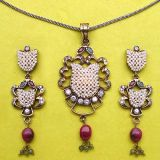 Johareez Emerald, Ruby & American Diamond Gold Plated Pendant Set
