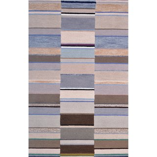 Handmade Wool Modern Beige/ Silver 5x8 lt1366 Area Rug Carpet