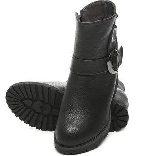 TEN Black Elegent Leather Boots ]