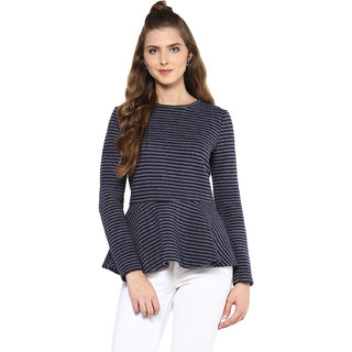 Femella Navy Plain Round Neck Top