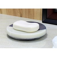 Promotional Offer Running - KLEO Natural Stone Round Soap Dish Bath Accessories For Bath, Tub or Wash Basin in two Tone