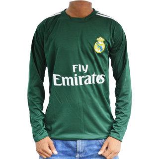 Long sleeve dark green realmadrid football jersey