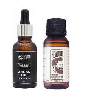 BEARDO ARGAN OIL - Hair  Skin Treatment Therapy Oil-Moisturizing  Conditioning (30ml) AndBeardo The Old Fashioned Beard Fragrance Hair Oil (50 ml)Combo.