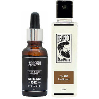 BEARDO ARGAN OIL - Hair  Skin Treatment Therapy Oil-Moisturizing  Conditioning (30ml) And Beardo The Old Fashioned Beard Wash (100 ml) Combo.