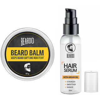 BEARDO Beard Balm (50g) - Makes Beard Soft  Non-Itchy BEARDO HAIR SERUM With Argan Oil - 50ml  Combo.