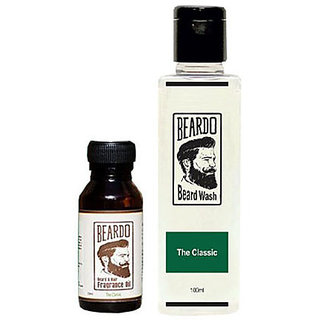 Beardo The Classic Beard Fragrance Hair Oil 10 ml AndBeardo The Classic Beard Wash (100 ml) Combo.