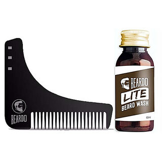 BEARDO Beard Shaping and Styling Tool Comb  BEARDO LITE Wash 60ml Combo.