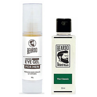 BEARDO Under Eye Gel for Men (50g) And BEARDO Beard Wash (50 ml),The Classic Combo.