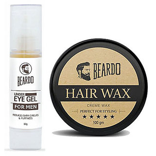 BEARDO Under Eye Gel for Men (50g) And BEARDO HAIR WAX - Perfect For Styling -100g  Combo.
