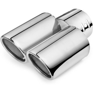 AutoStark A95 Round Twin Pipe Car Exhaust Silencer Tip Chrome For Hyundai i20