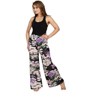 Be You Fashion Women Satin Black Printed Palazzo