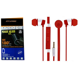 Combo Of Ear Phone and Wall Charger For Spice Pinnacle FHD