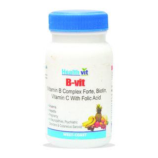 HealthVit B-VIT Vitamin B complex with bioton Vitmain C and Folic acid