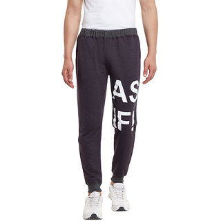 RIGO Charcoal Printed Detailing French Terry SlimFIt Jogger
