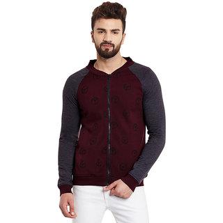 RIGO Peace Maroon Bomber Style Fleece Charcoal Sleeve Sweatshirt
