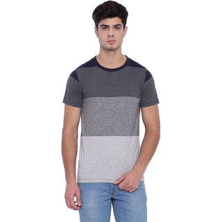Edberry Men's  Grey Striped Round Neck T-Shirt