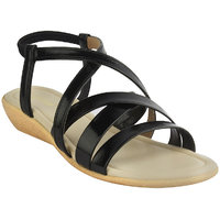Legsway Women's Black Synthetic Flat Sandal